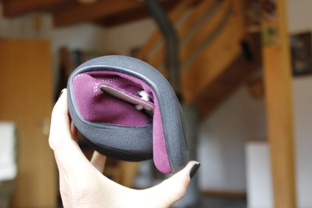 bendy flexible sole of barefoot shoe