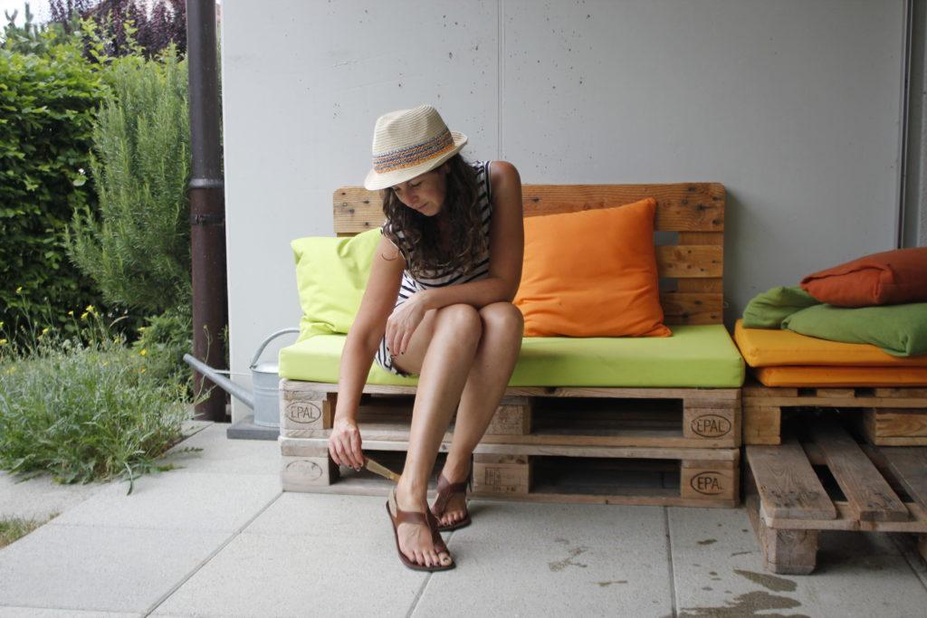 woman wearing tikki sandals