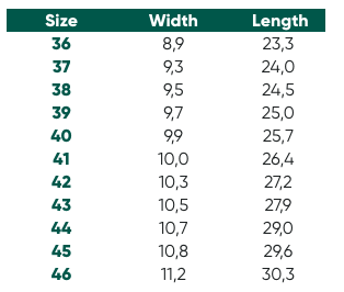 Size Chart for Belenka Shoes
